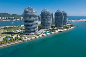 aerial view of a modern luxurious hotel resort in sanya on hainan island in the south china sea rlx2ggisig thumbnail full01